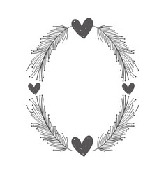 Rustic feathers with hearts decoration vector