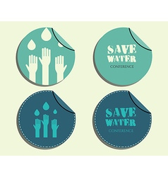 Save water conference badges and labels invitation vector