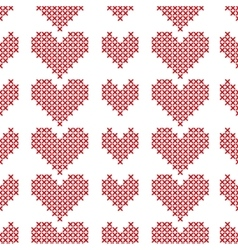 Seamless pattern with cross-stitch hearts on white vector
