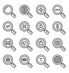 search icons set on white background line style vector image