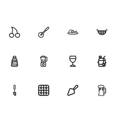 set of 12 editable cooking outline icons includes vector image