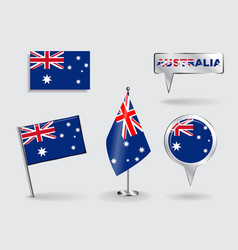 Set of Australian pin icon and map pointer flags vector image
