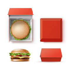 Set of container with hamburger vector