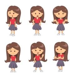Set of full length portraits of cute girl vector