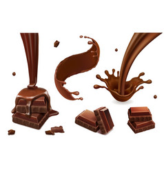 set splashes and drops chocolate vector image