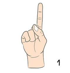 Sign language number 1 vector