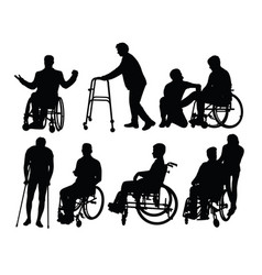 Silhouette patients with physical disabilities vector