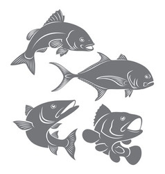 silhouettes of sea fishes vector image