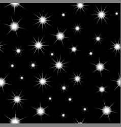 Starry black sky seamless pattern vector