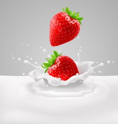Strawberries with milk vector image