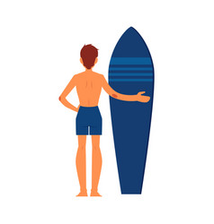 surfer man standing with surfboard vector image