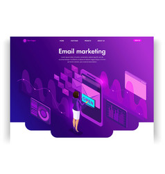 Template website isometric landing page concept vector