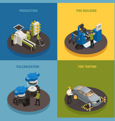 tire production isometric design concept vector image
