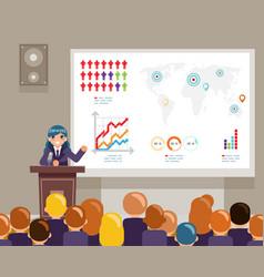 Tribune speech speaking large audiences global vector