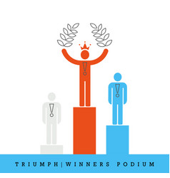 Triumph winners podium flat style and thin line vector