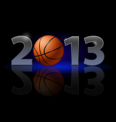 Twenty thirteen year basketball on black vector