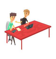 two guys behind the desk with devices chatting vector image