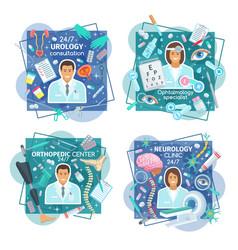 urology neurology and orthopedic clinic doctors vector image