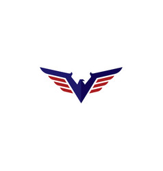 v eagle logo simple and strong design vector image