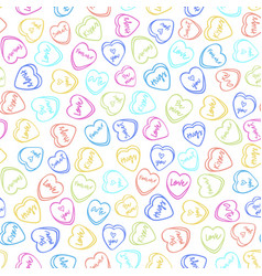 Valentines day color candy heart seamless pattern vector