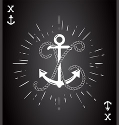 vintage label with an anchor and letter made of vector image