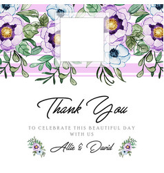 watercolor floral thankyou background vector image