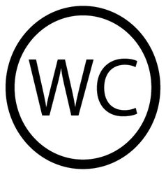 WC toilet icon black white vector