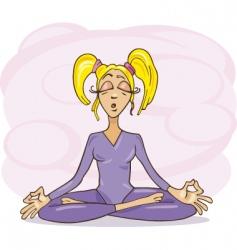 Woman meditating vector