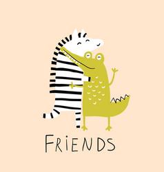 zebra and crocodile friends hug funny animals love vector image
