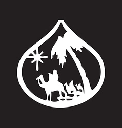Adoration of the Magi silhouette icon on black vector image