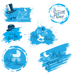 baby boy shower set in grunge style calligraphi vector image vector image