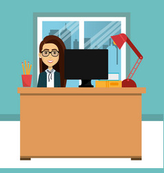 businesswoman in the office avatar character icon vector image vector image