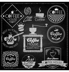 Coffee set elements chalkboard vector