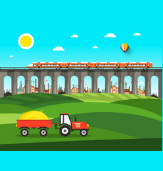 countryside nature landscape with tractor bridge vector image vector image