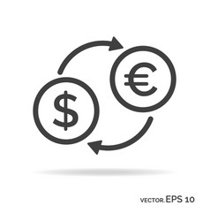 currency exchange outline icon black color vector image vector image