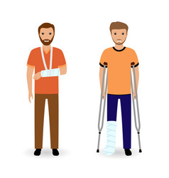 disability people concept two smiling invalid men vector image vector image