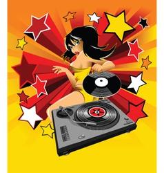 Dj party girl vector image vector image