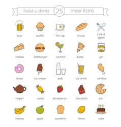 Food and drinks nutrition color icons set vector image