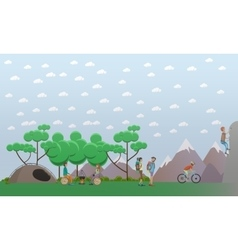 Hiking in mountains concept design element in flat vector image