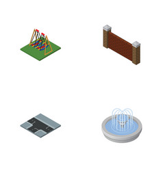 Isometric urban set of park decoration barrier vector