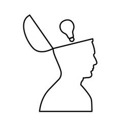 man with lightbulb idea in open head black icon vector image vector image