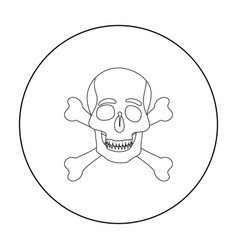 pirate skull and crossbones icon in outline style vector image