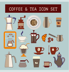 set of flat tea and coffee icons vector image