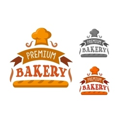 Bakery shop sign with baguette and toque vector