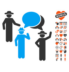 gentlemen discussion icon with lovely bonus vector image
