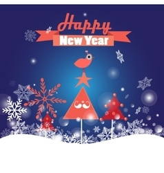 Greeting Christmas card with trees and bird vector image vector image