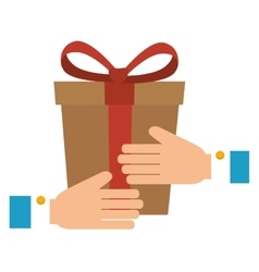 hands human with gift box vector image