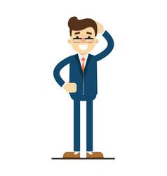 happy businessman with hand behind head gesture vector image vector image