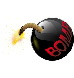 Round bomb with a burning wick vector image vector image