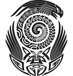 Snake-bird tattoo pattern vector image vector image